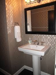 Bathroom:Fabulous Small Guest Bathroom With Cool Wallpaper Also Pedestal  Sink And Square Mirror Create