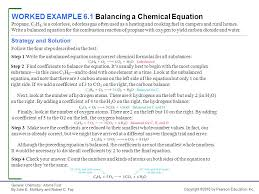 worked example 6 1 balancing a chemical equation