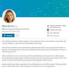 the career of maria butina research istant american university s