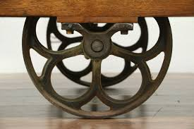 industrial salvage vintage cart or trolley iron wheels coffee table
