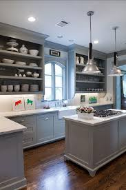 gray kitchen cabinets with blue walls