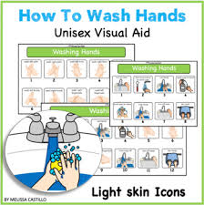 Washing Chart Hand Washing Visual Chart Light Skin Icons