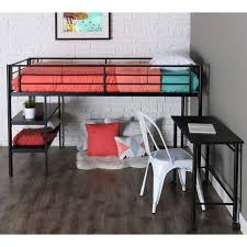 twin modern metal loft bed with desk and shelves black finish