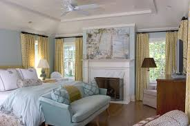 curtains for light blue room bedroom traditional with ceiling fan white casing wood floor