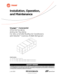 trane voyager commercial 27 5 to 50 tons installation and trane voyager commercial 27 5 to 50 tons installation and maintenance manual