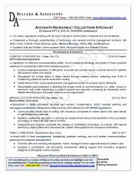 Collection Specialist Resume Collection Specialist Job Description Template Templates Medical 9