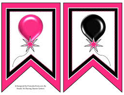 5 Inch Swallowtail Pink Black Printable Banner Letters A Z 0 9