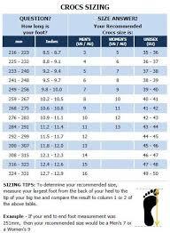 Crocs Shoe Size Chart India