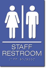 restroom signs.  Restroom Staff Restroom Sign  White On Blue On Signs I