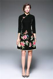 Velvet Dress Women Spring 2017 Red Embroidery Dress Mandarin