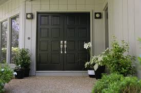painted double front door. Modern Style Painted Double Front Door With White Pots Black And 6 D