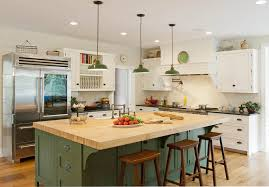 farmhouse kitchen industrial pendant. rustic modern farmhouse kitchen with green wood island wooden tops and stools decorated industrial style pendant lightings