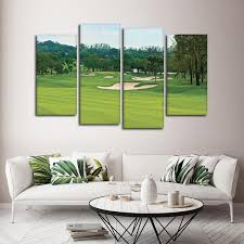 on golf club wall art with golf course multi panel canvas wall art elephantstock