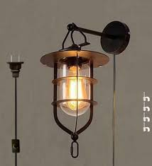 kiven vintage wall lamp with plug 1 8m black switch line ul listed bulb included