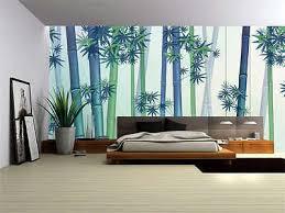 fog blue bamboo painting full wall