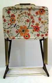 Decorative Tv Tray Tables Vintage Metal Tray Tables Set Of 100 Retro Atomic Black Yellow 50
