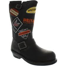 harley davidson brooklyn patch women s dusted black leather biker boots