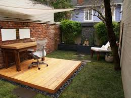 outdoor home office. wooden desk and platform outdoor office home p