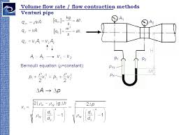 volume flow rate flow contraction methods venturi pipe