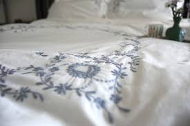 vintage cutwork pattern grey on white hand embroidered duvet cover king size 102x98