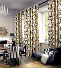 Living Room Curtain Fabric Imperial Mustard Yellow Eyelet Luxury Lined Curtain Grey