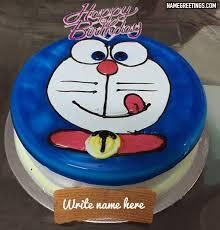 Write Name On Doraemon Happy Birthday Cake For A Kid