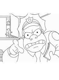 Kleurplaat Boze Politie Agent Uit De Simpsons Serie