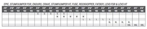Specialized 29er Size Chart Specialized Frame Size Chart 2017 Oceanfur23 Com