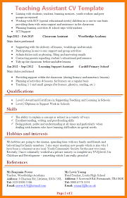 cv teaching assistant 5 cv for teaching assistant park attendant