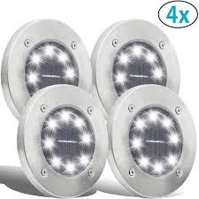4x Solar Led Grondspots Op Zonne Energie Automatisch Uit En Aan Met Dag En Nacht Sensor Zonne Energie Priklamp Padverlichting Buitenlamp