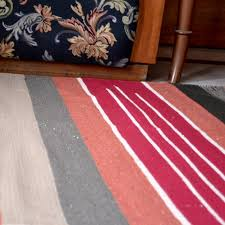 handwoven flat multicolored striped red cotton area rug loading zoom