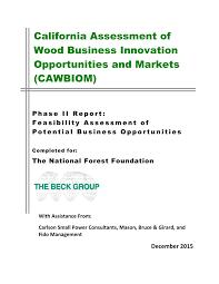 Pdf California Assessment Of Woody Biomass Innovation