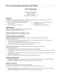 Chronological Format Resume Cool Examples Resume Profile Statements Of A For Example Students Sample