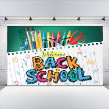 Us 5 74 42 Off Mehofoto Welcome Back To School Photographic Background For Students Pen And Notebook Backdrop Computer Printing Banner In Background