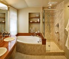 bathroom corner shower. Corner Jacuzzi Tub With Shower Area Opened Flotaed Shelf Double Bathroom Sinks Under Frameless Mirror