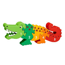 five piece chunky wooden multicoloured crocodile 1 5 jigsaw puzzle in profile free standing
