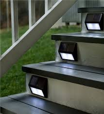 set of four solar step lights outdoor lighting