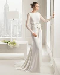 Long Sleeve No Lace Wedding Dress