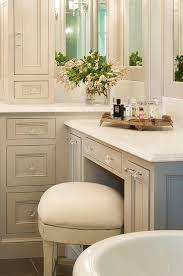 bathroom features gray shaker vanity: traditional gray bathroom features gray shaker vanity cabinets paired with white quartz countertops