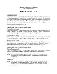 Physical Therapist Job Description For Resume Physical Therapy Director Sample Jobcription Dietary Aide Duties 1
