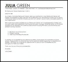 Restaurant Server Cover Letter Sample Livecareer With Regard To