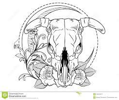 эскиз татуировки головы косточек быка с эскизом татуировки роз