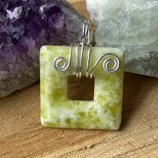 er jade square donut silver wire wrapped pendant 11 00 in stock