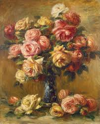 bouquet of roses in a green vase by pierre auguste renoir
