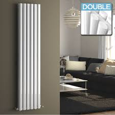 Kitchen Radiator Ember Vertical Oval Tube Contemporary Gas Radiator In White 1600mm
