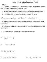 notes solving log equations part 1