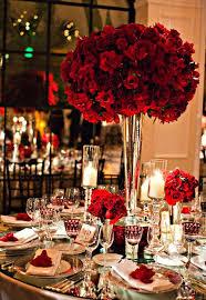 Incredible red rose centerpiece for glamorous wedding at Hotel Bel Air,  planning by Mindy Weiss