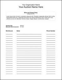 Bidding Sheets Free Silent Auction Bidding Sheet Template From Microsoft Easily