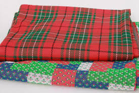 70s 80s vintage poly double knit fabric, Christmas tartan plaid ... & 70s 80s vintage poly double knit fabric, Christmas tartan plaid & calico patchwork  quilt print Adamdwight.com