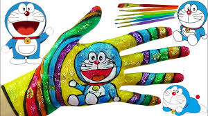 hand face painting learn colors for children painting finger family nursery rhymes ドラえもん
